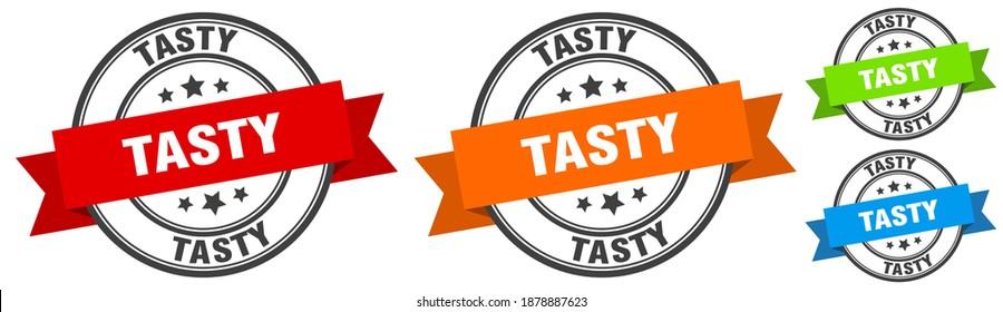 tasty stamp. tasty round band sign set. Label