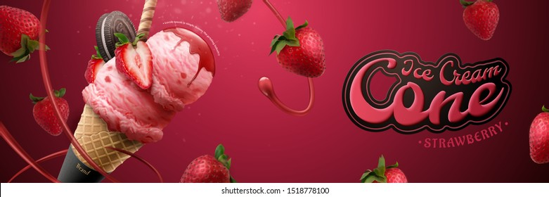 Tasty strawberry ice cream cone banner ads with fresh fruit and syrup in 3d illustration