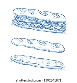 Tasty sub sandwich tasty sandwich with tomato, salad, cheese and ham. And empty sandwich bread without filling. Hand drawn line art cartoon vector illustration.