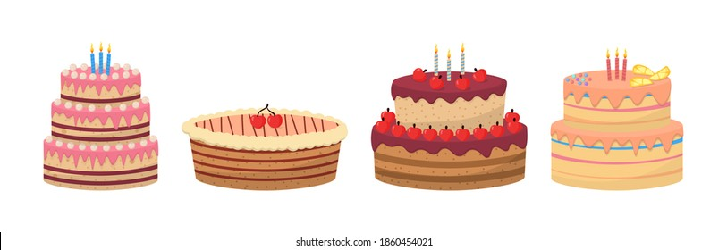 Tasty sweet desserts isolated on white background. Colorful delicious desserts, birthday cakes with celebration candles and chocolate slices. Flat set of cake birthday vector icons for web design.