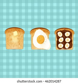 Tasty toasts in vector