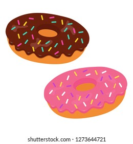 Tasty vector donuts with pink and chocolate glaze