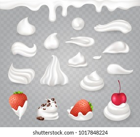 Tasty whipped cream with sweet strawberry, ripe cherry and dark chocolate crumbles isolated realistic vector illustrations on transparent background.