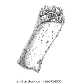 Tasty wrap with tomatoes, pieces of pepper, meat and  lettuce leaves isolated on white. Hand drawn vintage illustration with traditional mexican or arabic food. Engraved style.