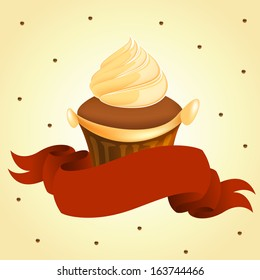 tasty yummy cup cake with red banner retro art vector