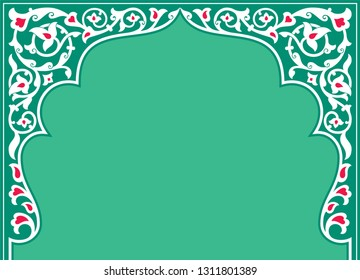 Tatar and Persian traditional ornamental floral arch. Oriental style Persian islamic pattern. High quality hand made vector art with decorative ethnic elements arabic decor in green and white colour.