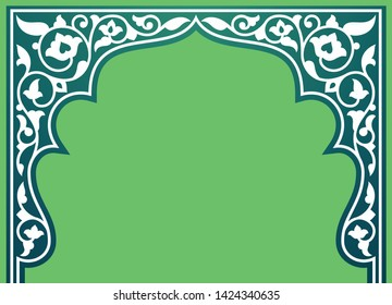 Tatar and Persian traditional ornamental floral arch. Oriental style Persian islamic pattern. High quality hand made vector art with decorative ethnic elements arabic decor in green and white colour