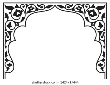 Tatar and Persian traditional ornamental floral arch. Oriental style Persian islamic pattern. High quality hand made vector art with decorative ethnic elements arabic decor in black and white colour