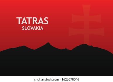 Tatra mountains background illustration national symbol Slovakia