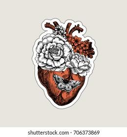 Tattoo anatomy vintage illustration. Floral anatomical heart. Vector illustration
