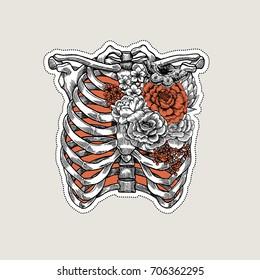 Tattoo anatomy vintage illustration. Roses chest skeleton. Vector illustration
