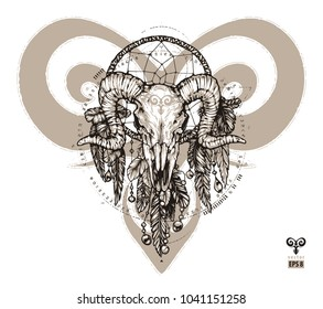 Tattoo aries and dream catcher. Zodiac sign with decorative elements of Indian and boho