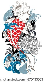 Tattoo for Arm and body paint. Colorful Koi carp with Water splash,lotus,Sakura blossom and peony flower.Japanese tattoo style and illustration for coloring book.isolate on white background.