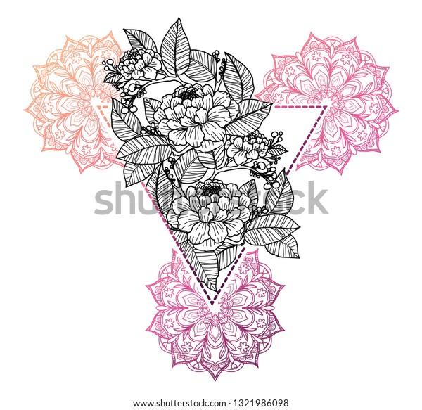 Image Vectorielle De Stock De Dessin à La Main De Fleur