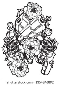 Tattoo art guns and flower hand drawing and sketch black and white with line art illustration isolated on white background.