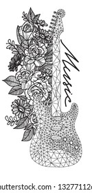 Tattoo art hand drawing and sketch Flower and guitar black and white with line art illustration isolated on white background.