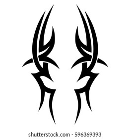 Tattoo art tribal vector designs sketch. Simple logo. Designer isolated element for ideas decorating the body of women, men and girls arm, leg and other body parts. Abstract illustration.