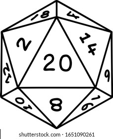tattoo in black line style of a d20 dice