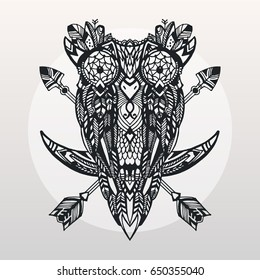 Tattoo bohemian owl. Vector illustration. Hand drawn style. Owl sitting on the moon with a arrows on its back. Black and white print.