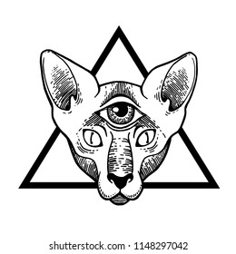 Tattoo Cat. Vector illustration art. Vintage engraving. Vintage style beautiful gothic cat. Traditional art tattoos. Mystic magic symbol. All seeing eye. Masonic symbol.