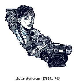 Tattoo in chicano style vintage template with pretty woman in bandana cat skull heart in barbed wire flowers and low rider retro car in monochrome style isolated vector illustration