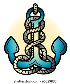 Tattoo design of an anchor in retro or vintage fifties style.