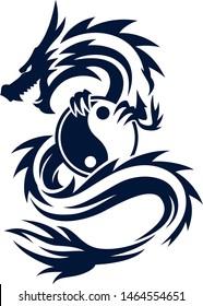 Tattoo Design of Chinese Dragon Holding Yin Yang Symbol