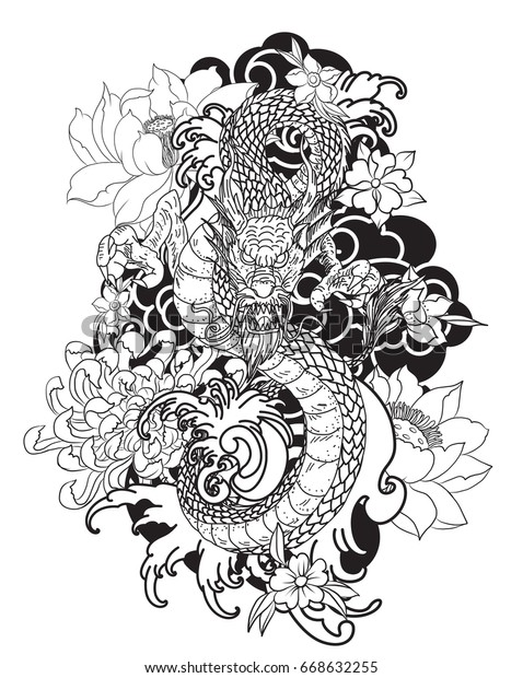 35fc93d561c61 tattoo design doodle and zentangle style, dragon with lotus ,sakura and  Chrysanthemum flower,