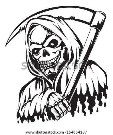 Tattoo Design Grim Reaper Holding Scythe Stock Vector Royalty Free