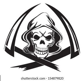Tattoo design of a grim reaper with scythe, vintage engraved illustration.