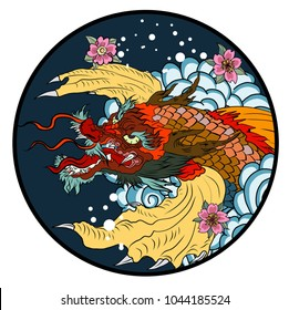 tattoo design koi dragon with cherry blossom and wave in circle.koi fish in water circle with Sakura flower. Japanese Dragon carp line drawing coloring book vector image.