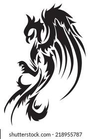 Tattoo design of phoenix, vintage engraved illustration.