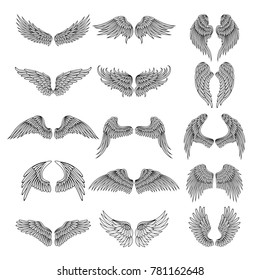 Tattoo design pictures of different stylized wings. Vector illustrations for logos design. Set of angel wings doodle set