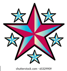 Tattoo design of six western stars.