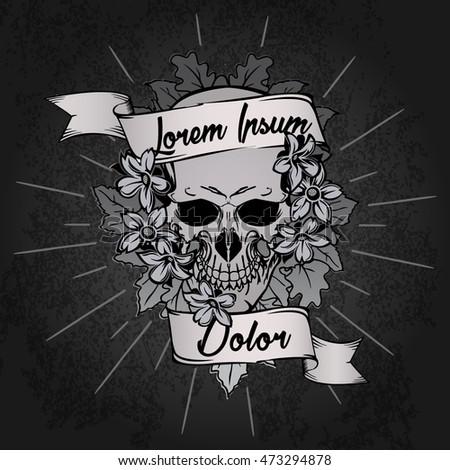 Tattoo Design Skull Flower Bouquet Ribbon Stock Vector Royalty Free