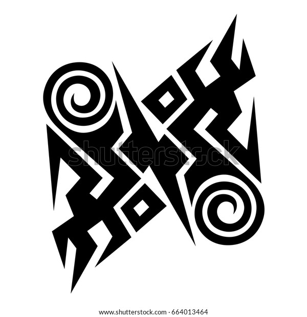 tattoo design tribal wave pattern vector, isolated illustration abstract pattern on white background, tattoo art tribal vector design. Simple logo.