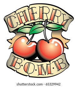 """Tattoo design of two cherries and the words """"cherry bomb."""""""
