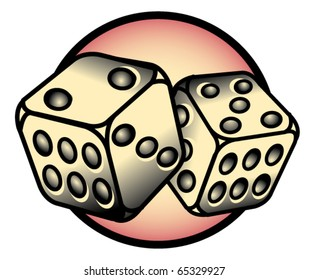 Tattoo design of two dice rolling lucky seven.