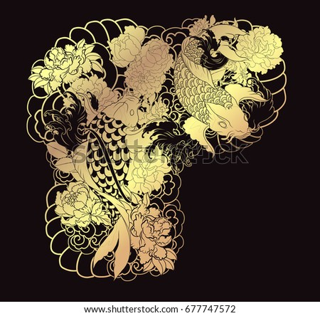 Tattoo Design Upper Arm Chest Gold Koi Stock Vector Royalty Free