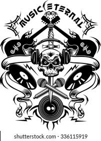 Tattoo Dj Human skull and Microphone