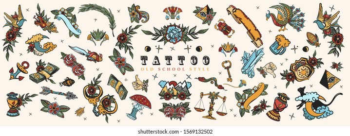 Tattoo elements collection. Big set for design. Old school tattooing style