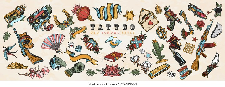 Tattoo elements collection. Big set for design. Old school tattooing art