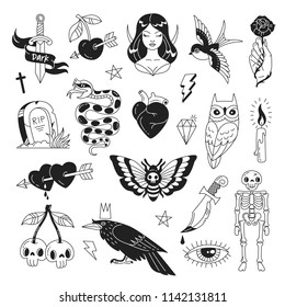 Tattoo elements collection. Vector illustration of fantasy mystical black and white icons such as skeleton, grave, sorceress, sword, snake, owl and crow isolated on white.