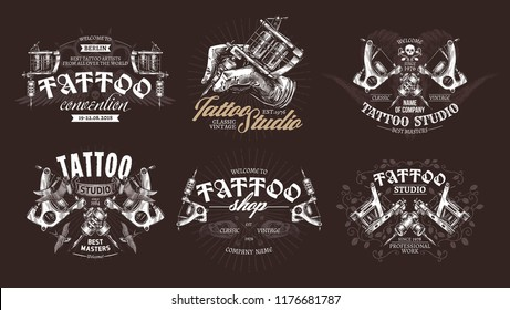 Tattoo emblems, badges and labels collection. Set of tattoo shops and salon logo and sign. Vector hand drawn engraving style
