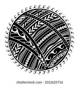 Tattoo in ethnic Maori style. Tribal sun shape