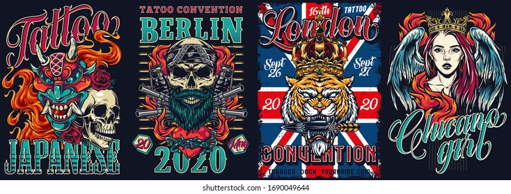 Tattoo festival and chicano style vintage posters with devil mask skull in bandana pistols grenades angry tiger head in crown girl with angel wings vector illustration