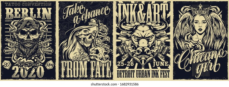 Tattoo fests and chicano style vintage posters with skull in bandana guns grenades girls in crown and baseball hat tattoo machines aggressive bull head vector illustration