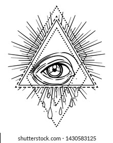 Tattoo flash. Eye of Providence. Masonic symbol. All seeing eye inside triangle pyramid. New World Order. Sacred geometry, religion, spirituality, occultism. Isolated vector illustration.
