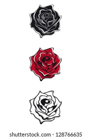 Tattoo flash isolated vector roses black, red, white