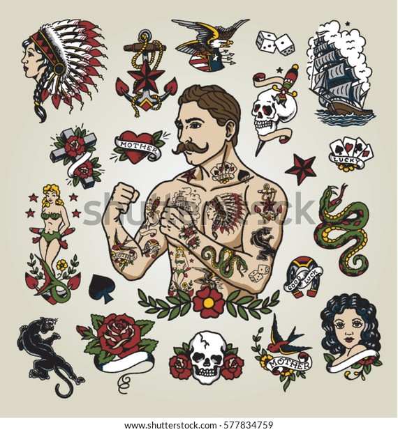 Image Vectorielle De Stock De Un Flash De Tatouage Homme Hipster 577834759